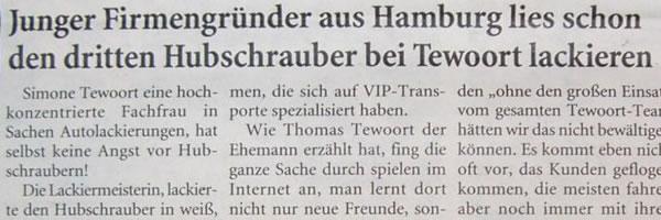 Artikel in den Niederrhein Nachrichten am Samstag vom 03.02.2007